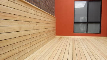 Stained treated pine decking