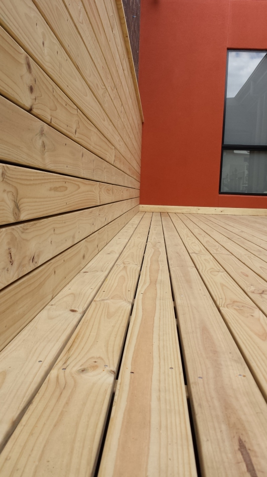 Close-up of pine decking