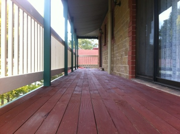 Stained treated pine verandah